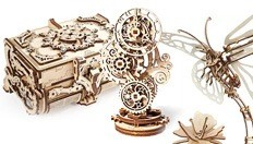 Ugears presents the Antique Wooden Box, the Butterfly Model-Automaton and the Steampunk Clock