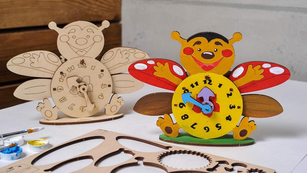 3D-Modell zum Färben «Marienkäfer Uhrwerk»