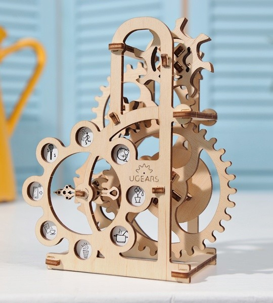 Ugears mechanical model kit Dynamometer and wooden 3D puzzle. Construction kit with Geneva drive mechanism. Original gift for boys and girls and smart hobby for grown-ups.