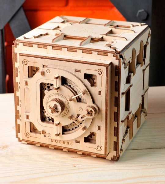 Ugears mechanical model kit Safe and wooden 3D puzzle box. Construction model kit of safe vault with combination lock with personal 3-digit code. Original business gift and smart hobby for grown-ups, boys and girls.