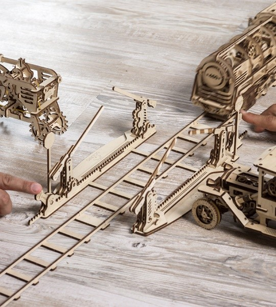 Ugears mechanical model kit Rails with Crossing and wooden 3D puzzle. 4 meters of tracks with crossing complete with stop signs and gates and part of railway. Original gift for boys and girls and smart hobby for grown-ups.