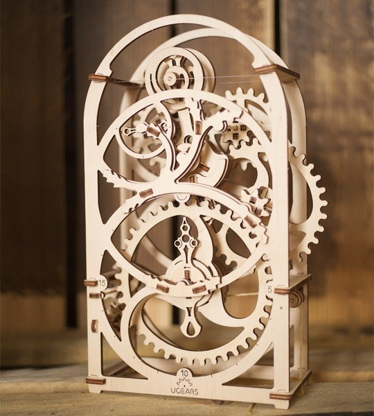 Ugears mechanical model kit Timer Chronometer for 20 minutes and wooden 3D puzzle. Self-propelled clock construction kit with pendulum mechanism. Original gift for boys and girls and smart hobby for grown-ups.