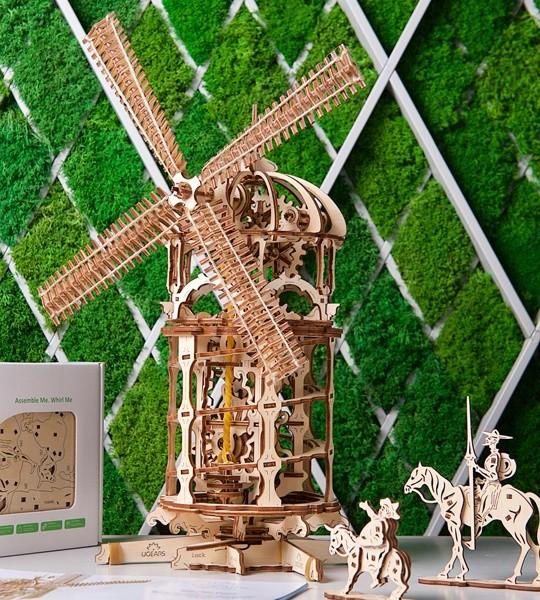 Ugears mechanisches Modellbausatz Turm Windmühle und 3D-Puzzle aus Holz zur Selbstmontage. Modell der Steampunk-Windmühle mit Schneckenförderer und vollwertigem Kettenantrieb. Originelles Geschenk für Jungen und Mädchen und intelligente Hobby für Erwachsene.