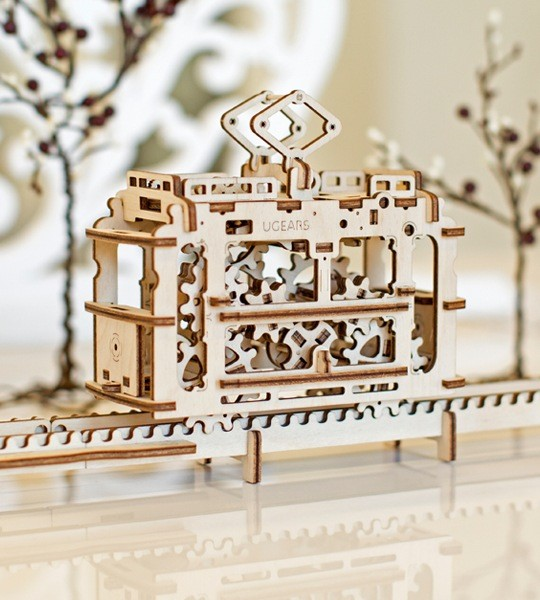 Ugears mechanical model kit Tram with Rails and wooden 3D puzzle. Construction kit and model of streetcar and funicular. Original gift for boys and girls and smart hobby for grown-ups.