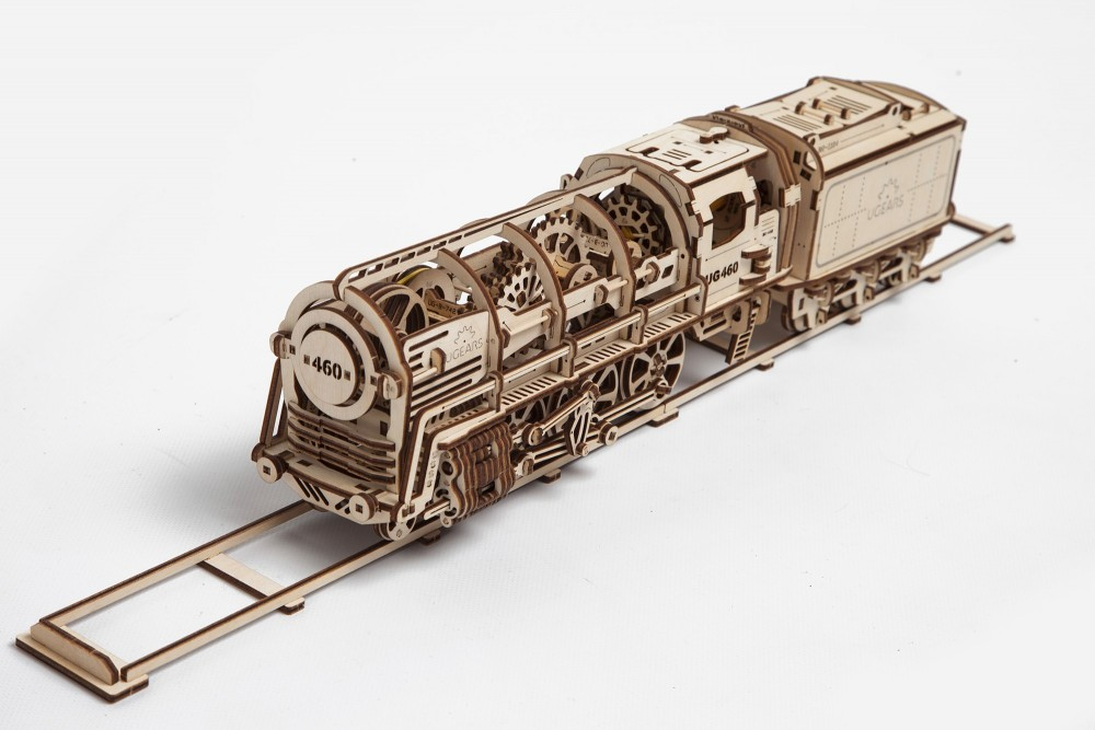 UGears Locomotive with Tender 443 Pieces Wooden Mechanical Model