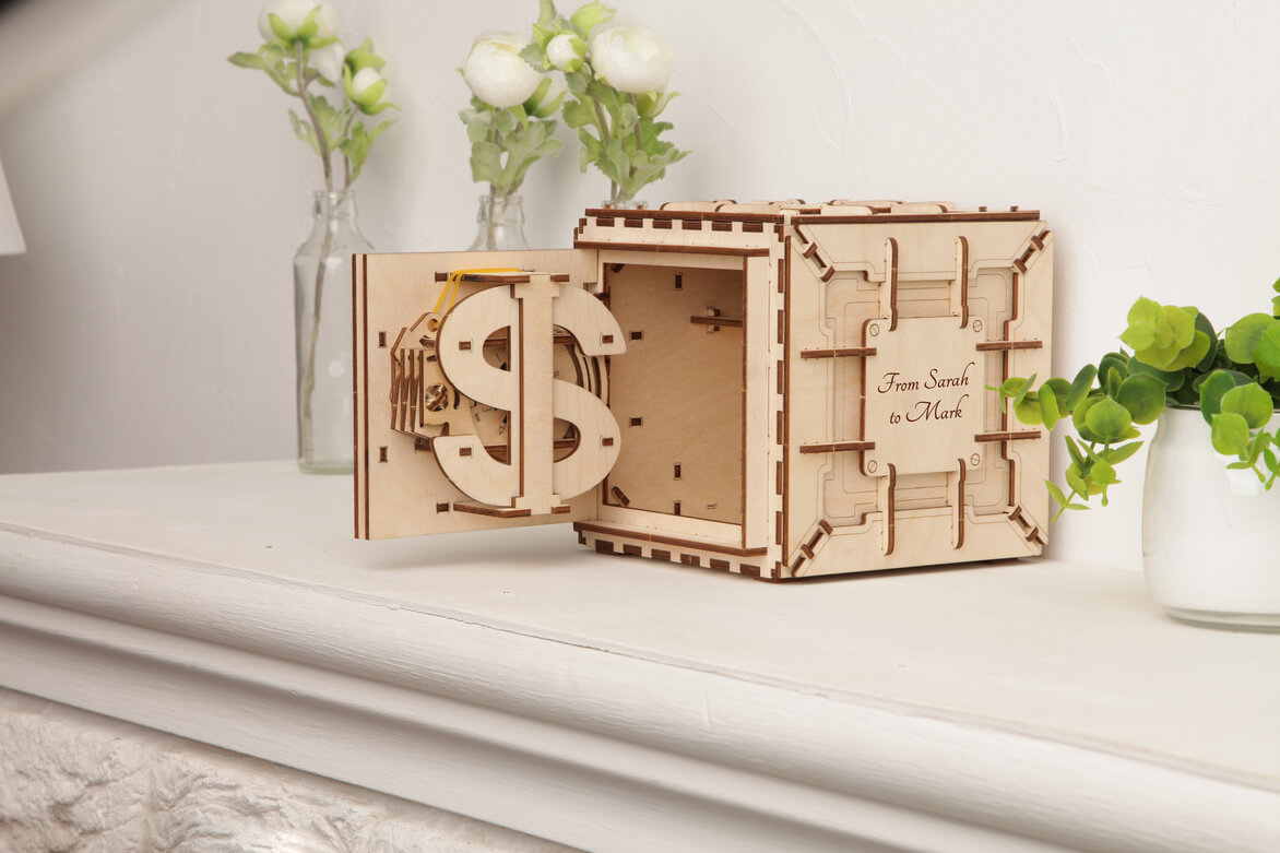 wooden Safe with personal lock combination